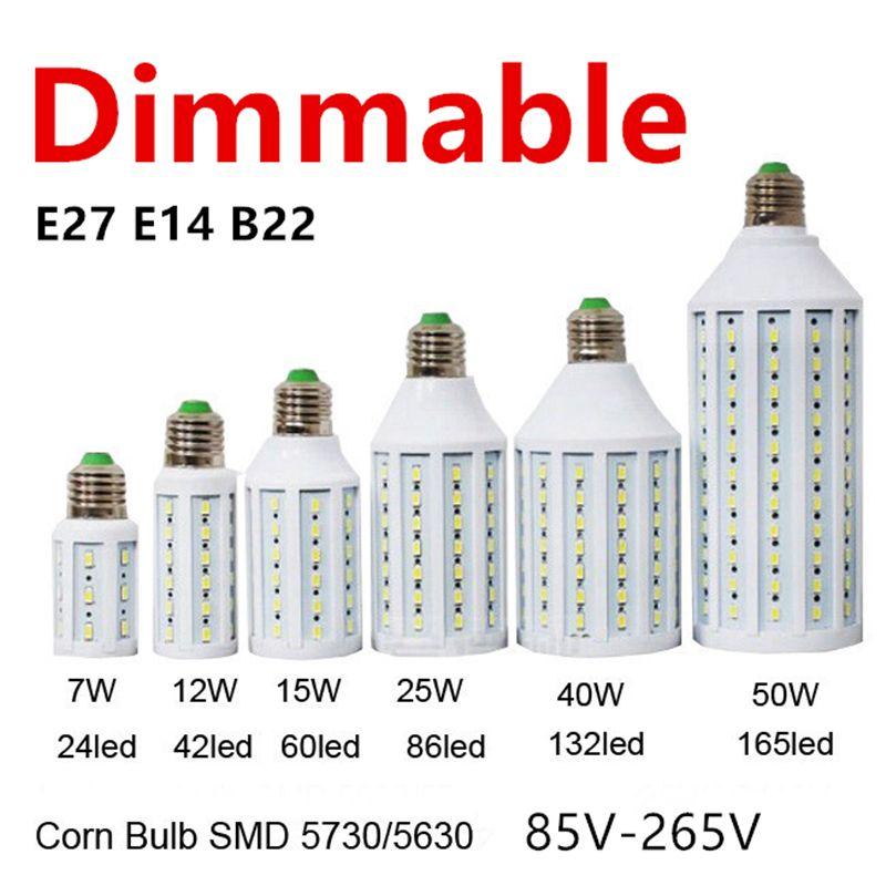 D50 Dimmable 5730 60LED 15 w A MENÉ L'éclairage De Lampe E27 E26 B22 E14 85-265 v Lampada A MENÉ La Lumière gradation De Maïs Ampoules Projecteur 1 pcs/lot