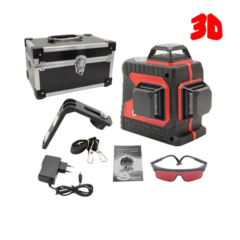 Big Strong 3D 12Lines Laser Level Thick Lines Self-Leveling 360 Horizontal And Vertical Cross Super Powerful Red Laser Beam