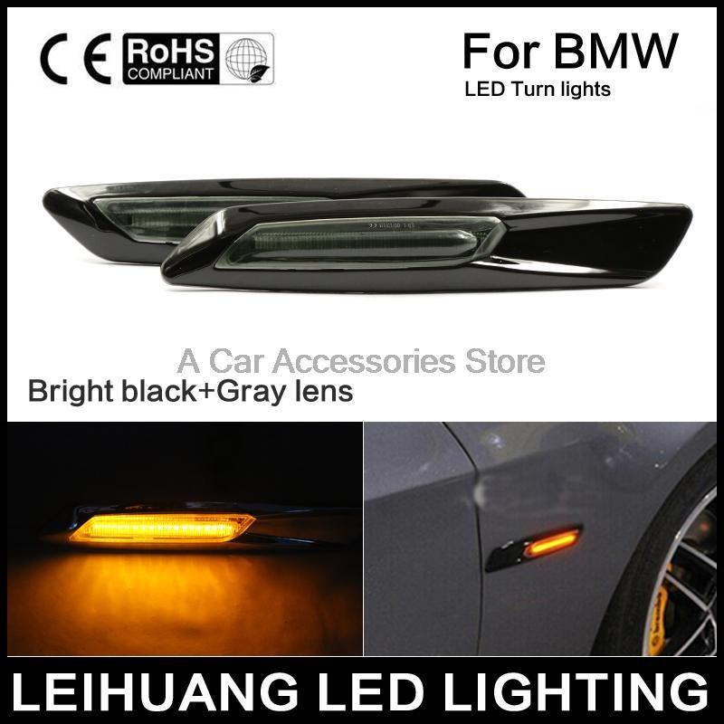 A Pair Black Trim LED Fender Side Marker Light Turn Signal Lamp for BMW E60 E82 E87 E88 E90 E91 E92 E93