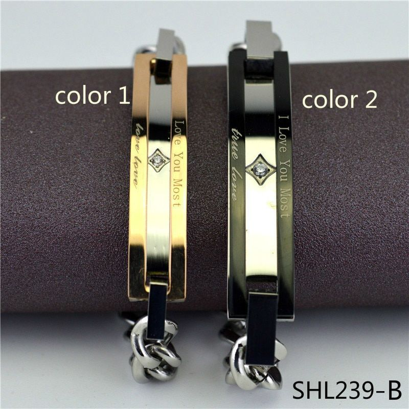 Korean Hollow Out Double-deck Lovers Bracelet Man Women's A Pair Titanium Crystal Restore Ancient Ways stonery Product SHL239