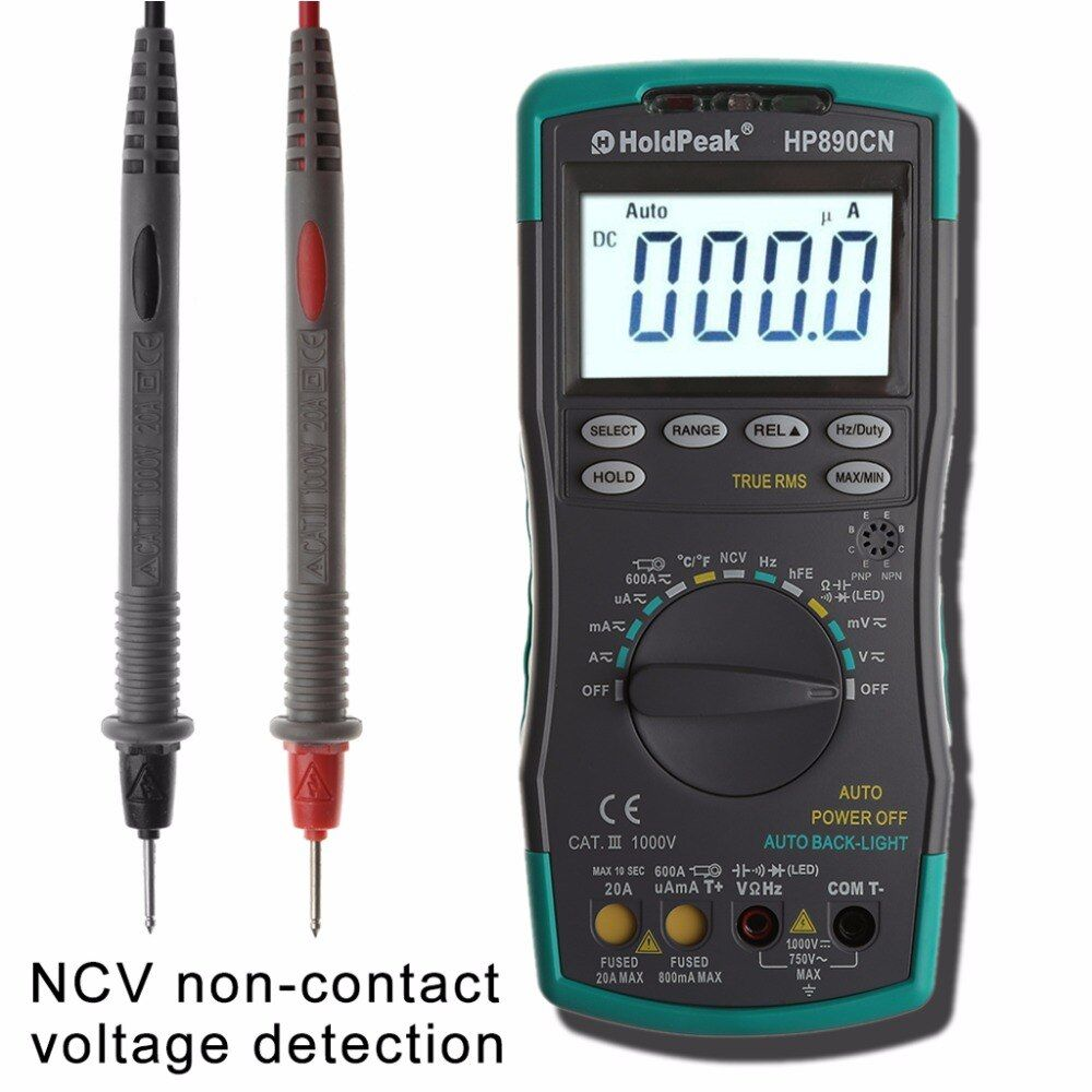 HoldPeak HP-890CN High Reliability Digital Multimeter PC Connect AC DC Voltage Meter Data Hold Relative Mode 6000 Counts Data