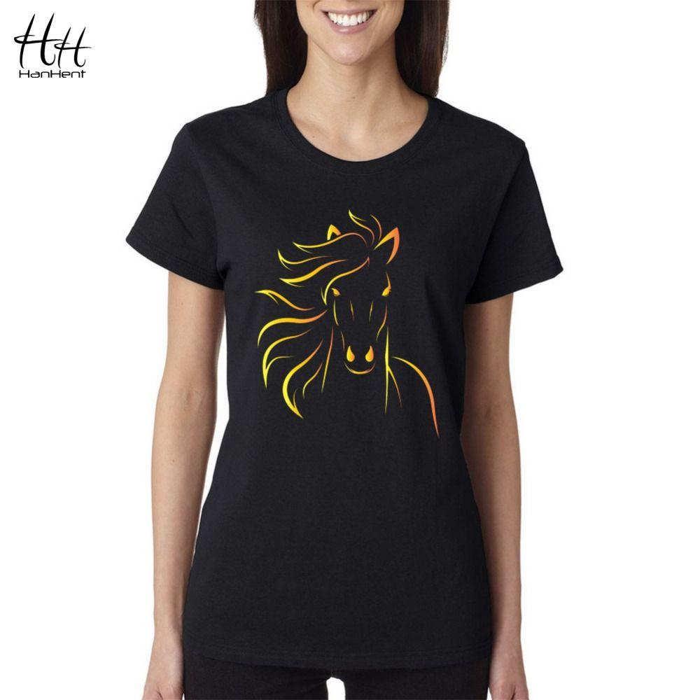 HanHent Brand Design Imprimer Cheval Femmes T chemises 2018 Nouvelle Mode D'été À Manches Courtes T-shirt Filles Sexy Noir T-Shirt Harajuku