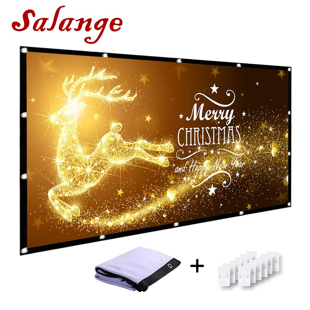 Salange 120 inch Projector Screen 16:9 Fold Anti-Crease Portable Hologram Projection Screen for Short Throw DLP Laser Projector