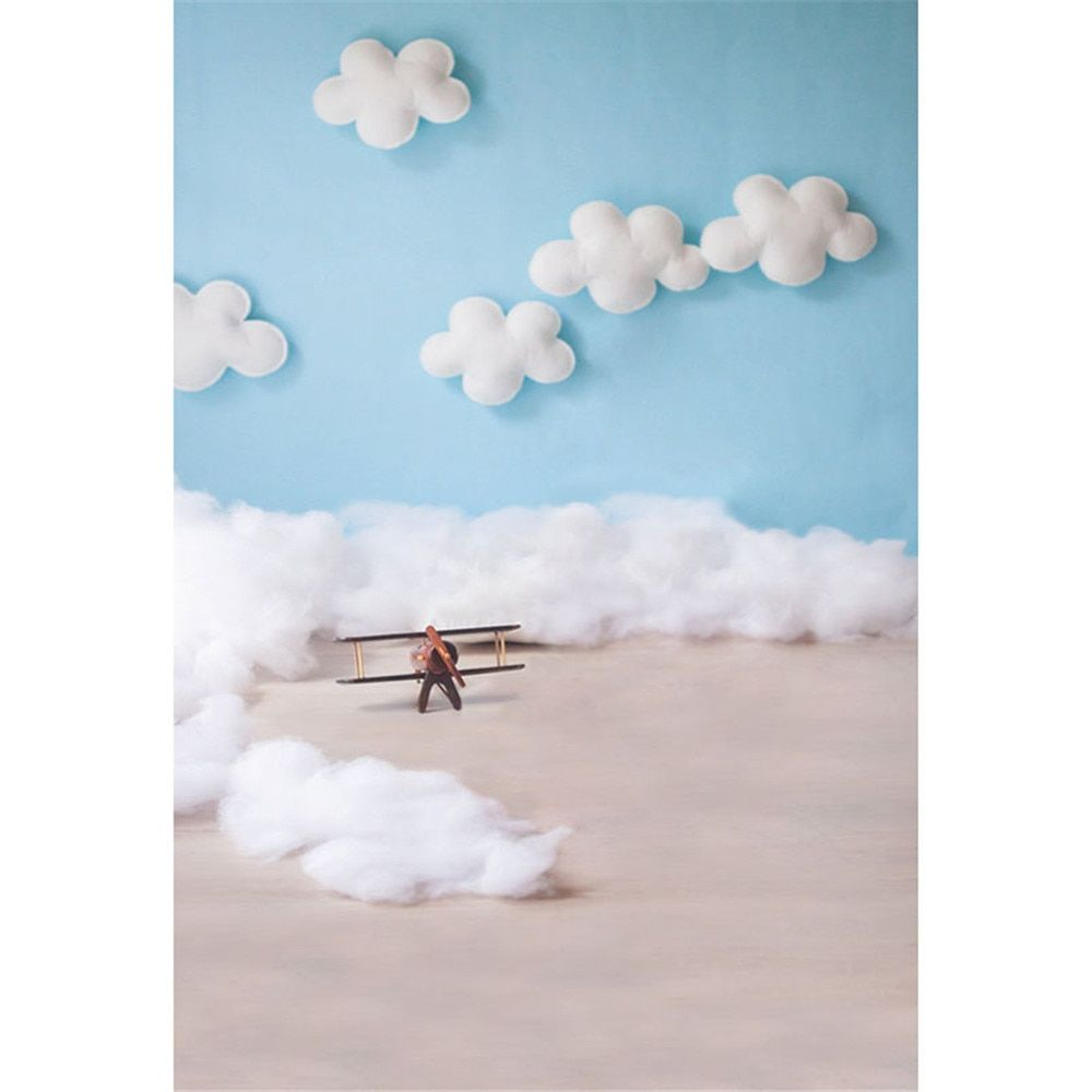 Blue Sky White Clouds Baby Pilot Photography Backdrops Vinyl Printed Toy Aircraft Kids Boy Photo Shoot Backgrounds for Studio
