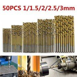 Hot Sale 50Pcs/Set Twist Drill Bit For Metal Set 1/1.5/2/2.5/3m HSS High Speed Steel Drilling Woodworking Tool High Quality