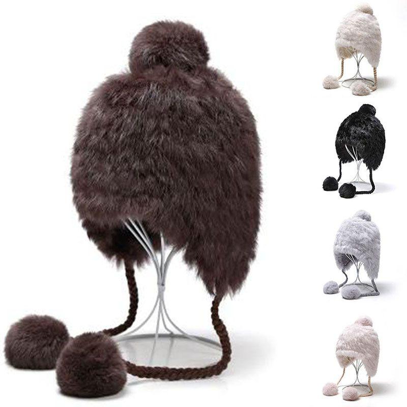 New Fur Hat Faux Mink Fur Hat Fashion Plus Cute Fur Ball Pendnt Thick Fur Warm Lovely Faux Rabbit Hair Hat