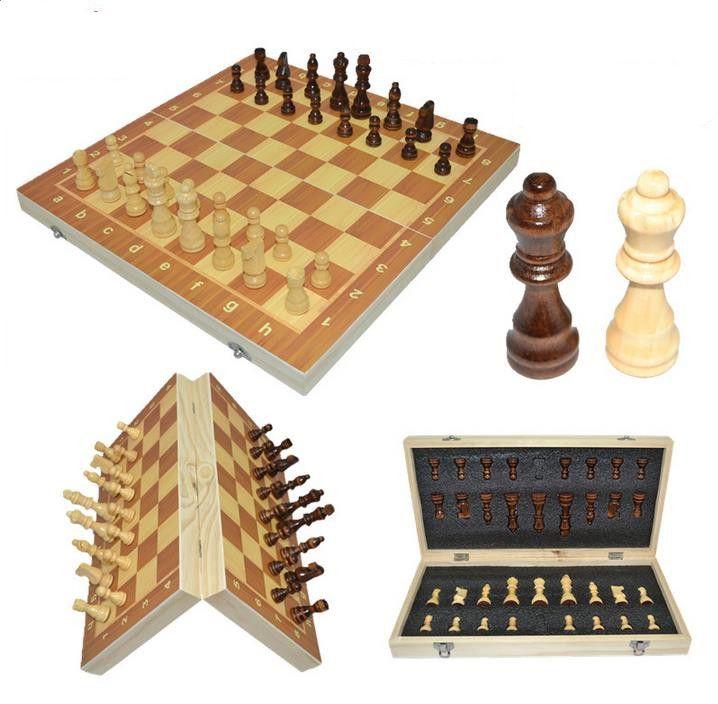 2019 Hot haute qualité 39 cm X 39 cm classique en bois jeu d'échecs jeu de société pliable magnétique pliant conseil emballage en bois échecs