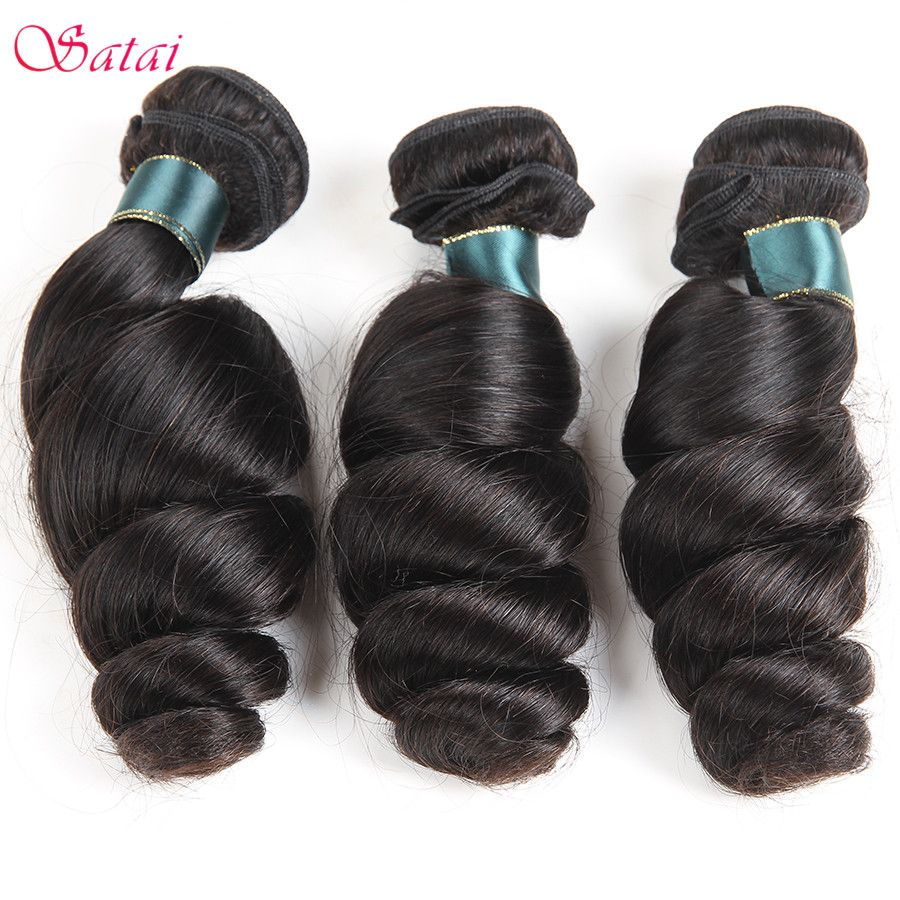 Satai Hair Loose Wave Brazilian Hair Weave Bundles 100% Human Hair 1 Piece 8-28inch non Remy Hair Extension No Tangle Can be Dye
