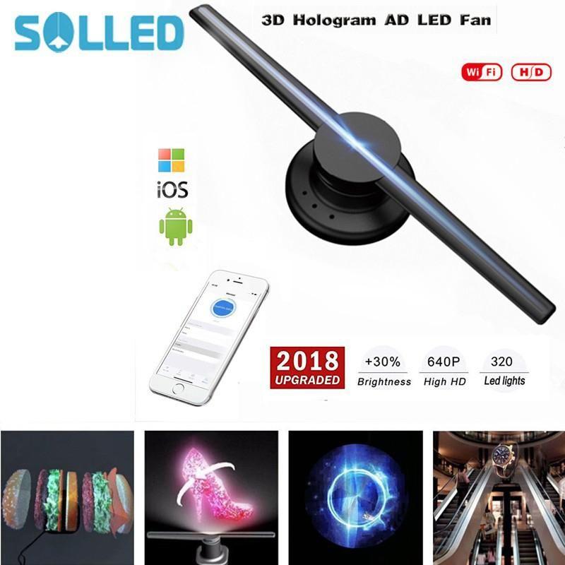 SOLLED 85-265V 42cm/16.54 Wifi 320 LEDs 3D Hologram Projector Hologram Player LED Display Fan Advertising Light APP Control
