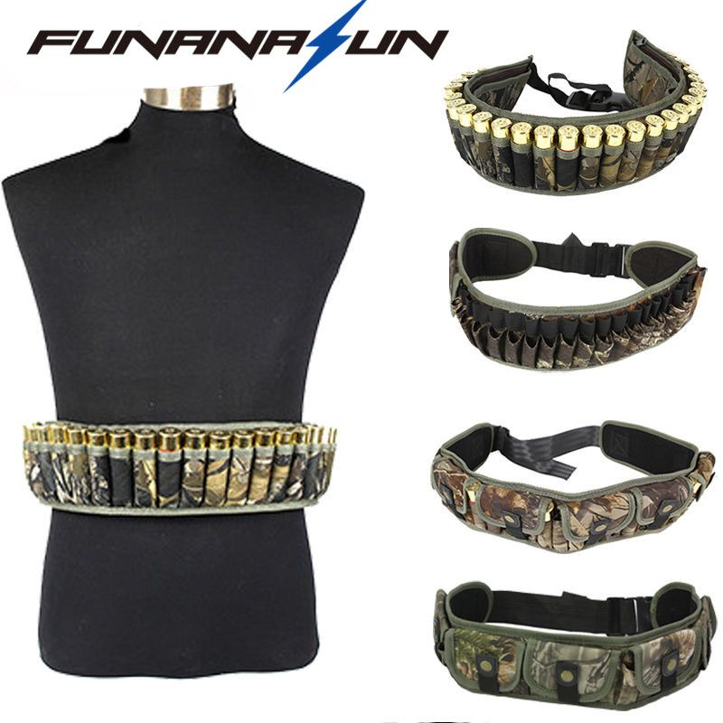 Hunting Molle Ammo Cartridge Belt Military Magazine Pocket 12GA 28Rounds Shotgun Shell Waist Pouch Adjustable Buckle Strap