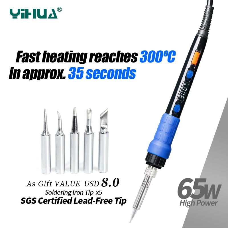 YIHUA 928D ESD Thermostatic Soldering Iron With Button Temperature Adjustable Digital Soldering Iron 220V 110V For Soldering