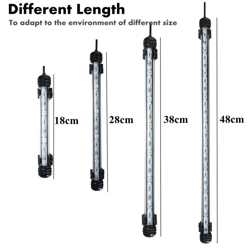 EE. UU./EU/UK/AU Plug AC110-240V 18/28/38/48 cm IP68 A Prueba de agua Sumergible Tanque de Peces de acuario LED 5050 SMD Luz Lámpara Bar Luz de Tira