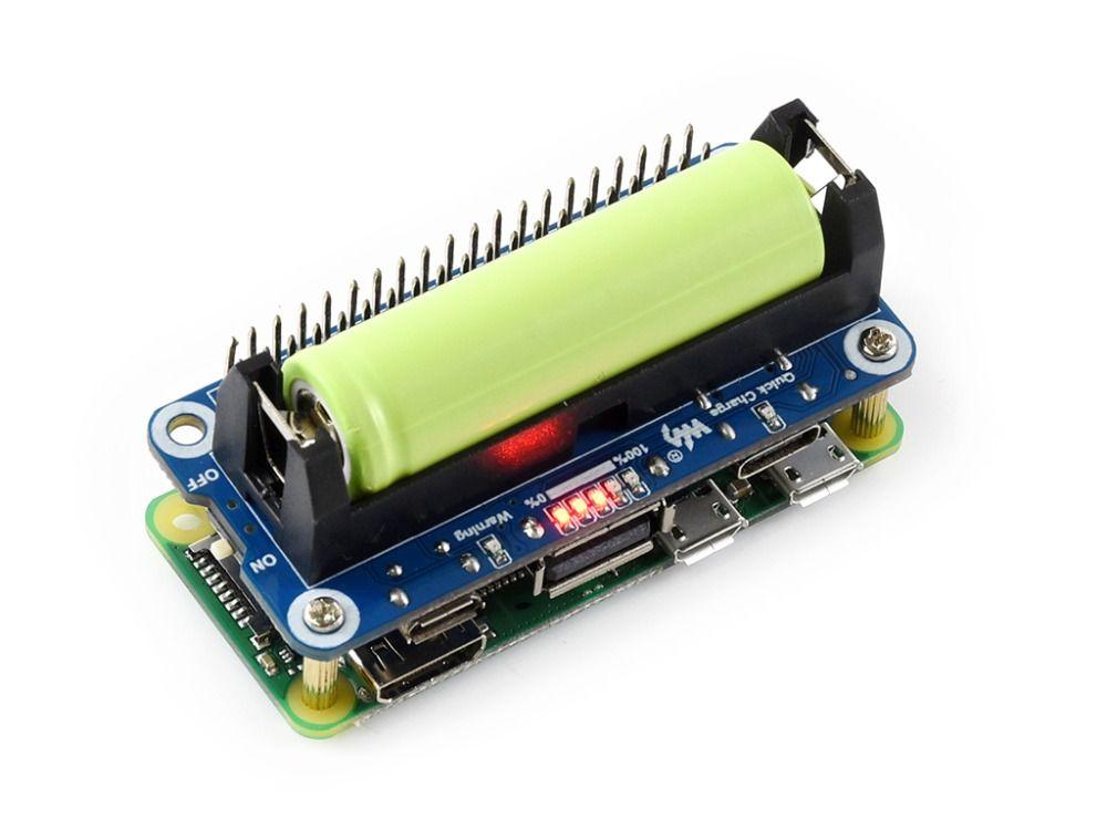 Waveshare Li-Ion Batterie HUT für Raspberry Pi 5 v Geregelte Ausgangs Bi-directional Quick Charge integriert SW6106 power bank chip