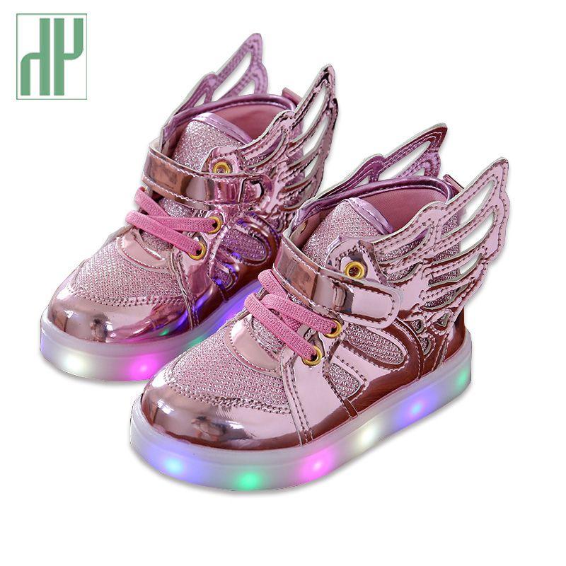 HH enfants chaussures avec la mode légère bébé brillant baskets garçons petites filles chaussures ailes toile surfaces plates printemps enfants allument chaussures