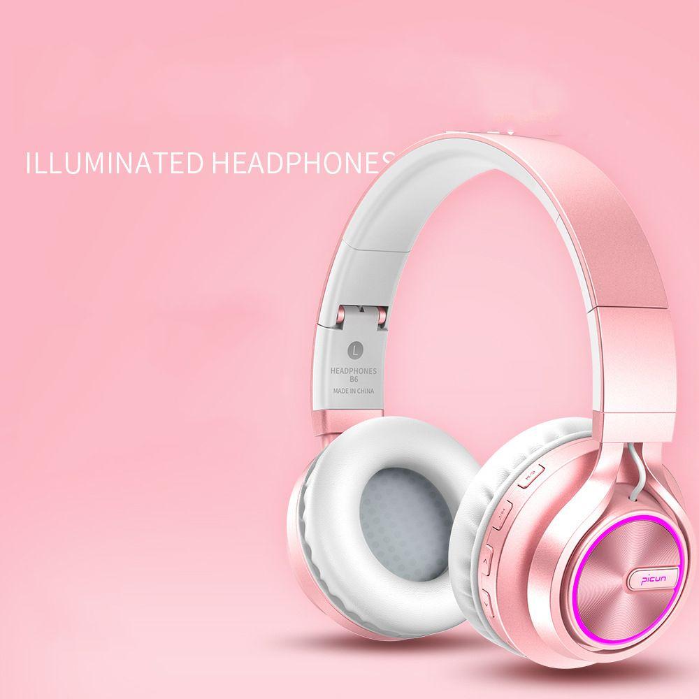 Casque stéréo de bandeau de basse de Hi-Fi, casque sans fil de Bluetooth 4.1 avec la carte de TF de soutien de micro, casque d'or Rose pour des filles