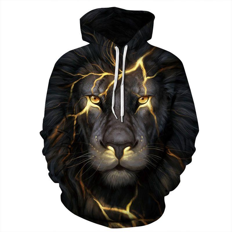 Headbook New Fashion Men/Women 3d Sweatshirts Print Golden Lightning Lion Hooded Hoodies Thin Hoody Tracksuits Tops