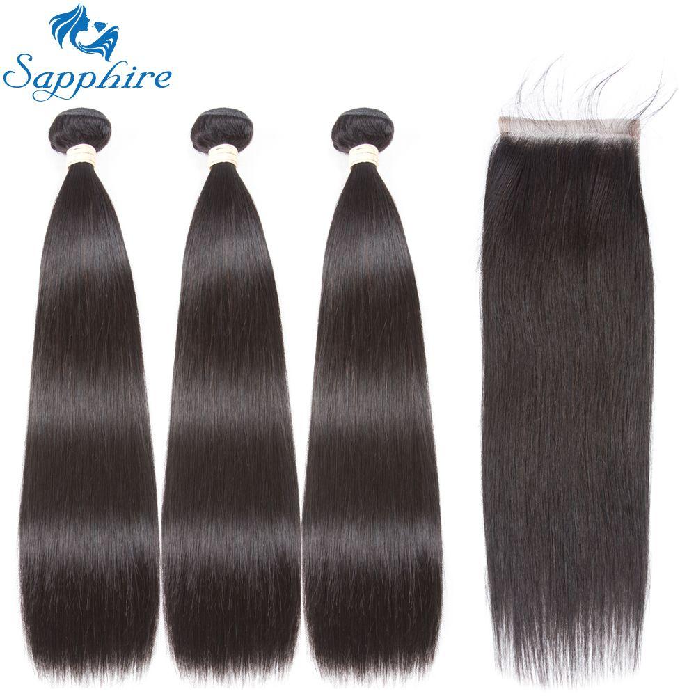 Sapphire Remy Hair Brazilian Straight Hair Bundles With Closure Human Hair Weave Bundles 4 PCS Straight Human Hair Extension