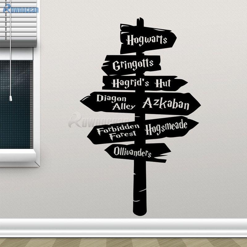 Autocollant mural Harry Potter signe de route de poudlard autocollant en vinyle décor de film à la maison affiche de autocollant mural amovible autocollants adhésifs H-03