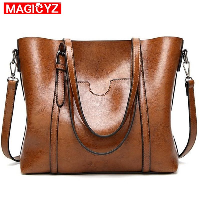 Women bag Oil wax Women's <font><b>Leather</b></font> Handbags Luxury Lady Hand Bags With Purse Pocket Women messenger bag Big Tote Sac Bolsos Mujer