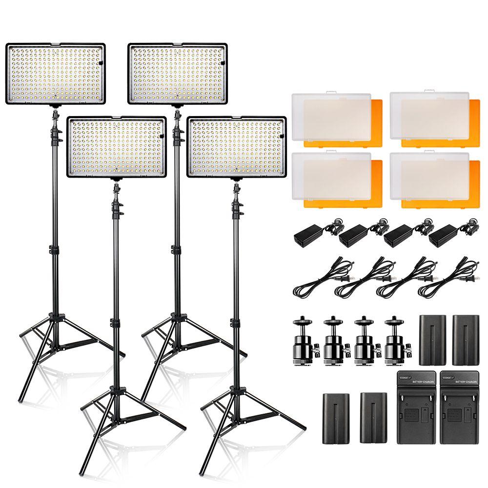 LED Video Light Kit 4 in 1 24W 3200K 5500K 240pcs Led Camera / Camcorder Video Light Panel with battery for Canon Nikon Pentax