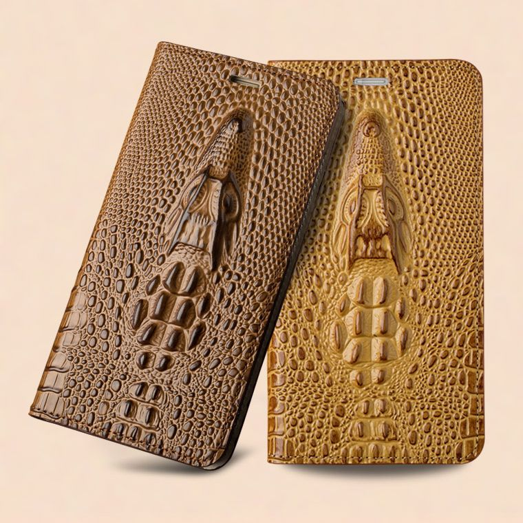 Cover For Apple iPhone 8 & iPhone 8 Plus Top Genuine Leather Flip Magnetic Case 3D Crocodile Texture Phone Bag