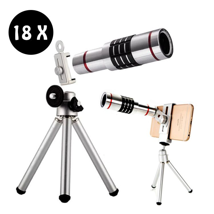 18X Zoom Téléphone Télescope Téléobjectif Camera Lens pour iPhone Android Trépied