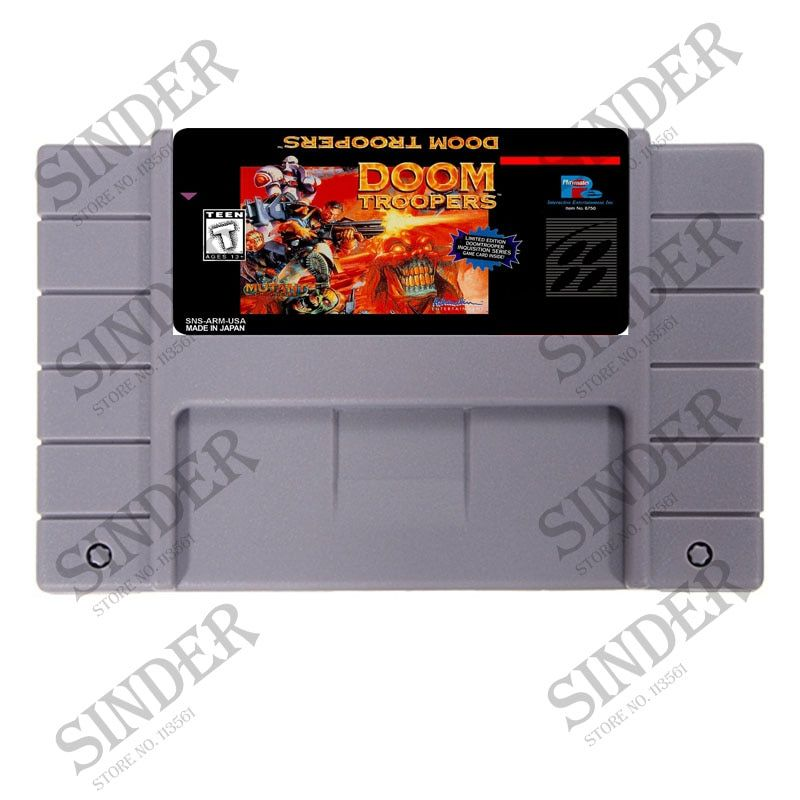 Doom Troopers USA Version 16 bit Big Gray Game Card For NTSC Game Player