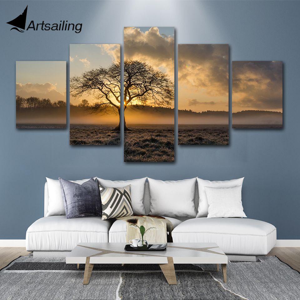 Toile peinture Vintage affiche mur Art cadre imprimé photos 5 panneau lever du soleil arbre paysage Photo pour salon décor à la maison