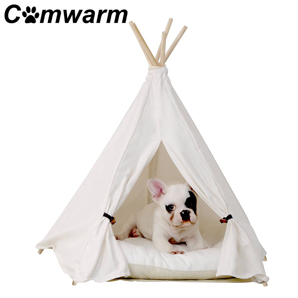 Comwarm White Pet Teepee House Pet Bed Cat Bed Pet House Portable Dog Tents Pet House Bed for Small Dogs ( with Cushion )
