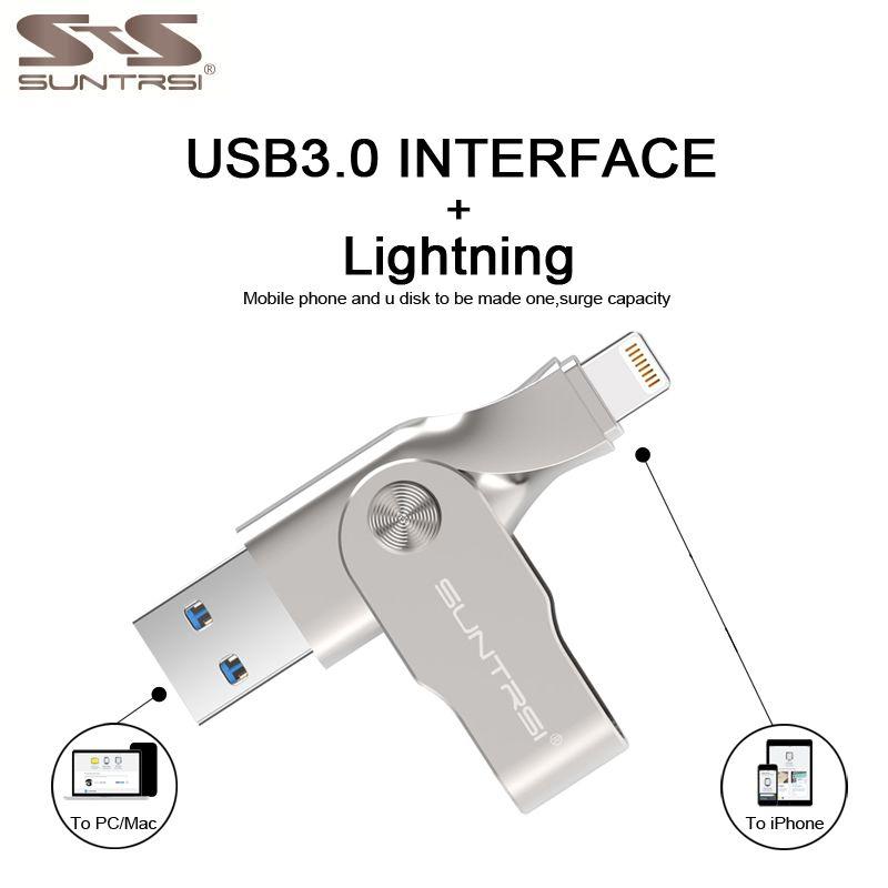 Suntrsi USB Flash Drive for iphone 6 7 ipad MFI Pendrive <font><b>64GB</b></font> USB Stick 32GB Pen Drive USB 3.0 Lightning USB stick High Speed
