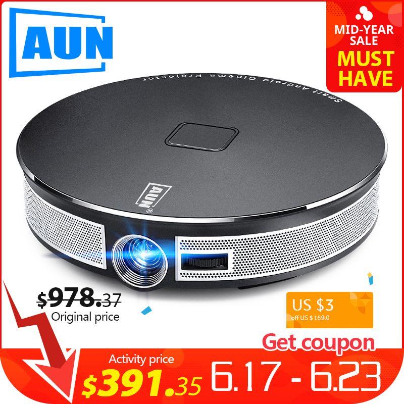 AUN MINI Projektor D8S, 1280x720 P, Android 6.0 (2G + 16G) WIFI. 12000 mAH Batterie, Tragbare 3D beamer. Unterstützung 4 K video home cinema