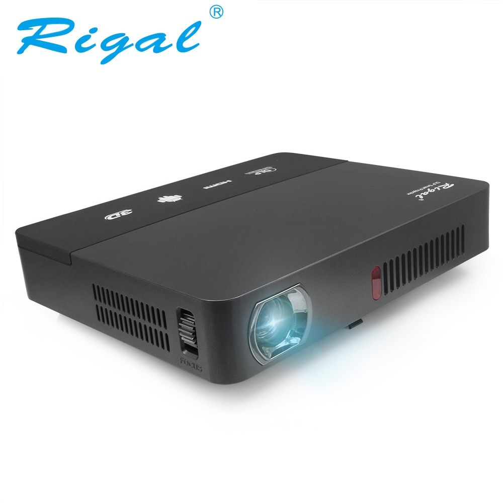 Rigal Projecteur RD601 10000 mah Batterie Android (En Option) WIFI LED MINI DLP HD Projecteur 3D Beamer 350 ANSI Lumens Home Cinéma