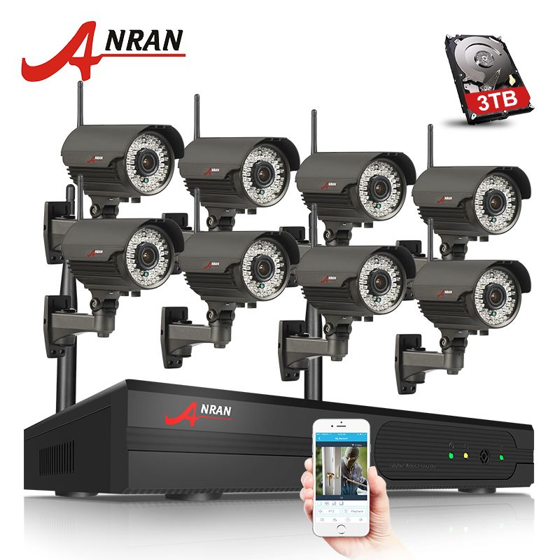 ANRAN Plug And Play 8CH NVR WIFI CCTV System P2P 1080P H.264 HD Zoom 2.8mm-12mm Lens Home Security Wireless IP Camera Kit