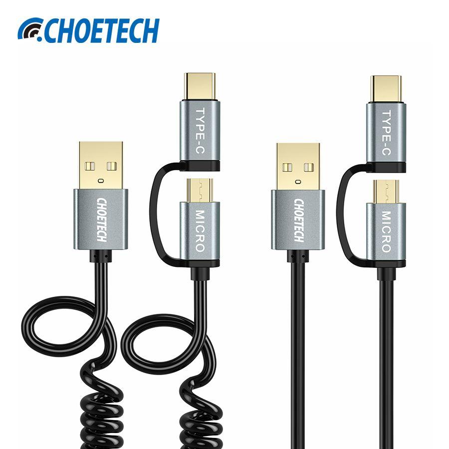 2-Pack CHOETECH 2 en 1 USB Type C + Micro USB Câble 1.2 M de chargement de Données USB Câble pour Samsung S8 Type-C Mobile Téléphone Chargeur câbles