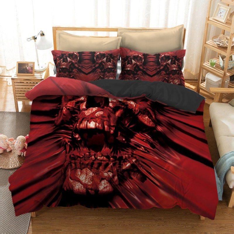 Fanaijia 3pcs skull Bedding Set King size Bohemian skull Print Duvet Cover set with pillowcase AU Queen Bed best gift bedline