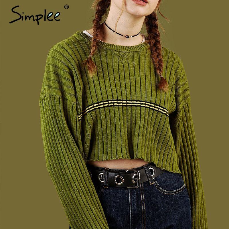 Simlpee Vorne striped o neck kurze frauen pullover 2018 mode harajuku pullover Beiläufige lose herbst winter jumper streetwear