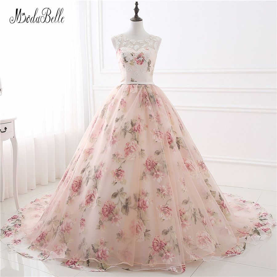 Belle Fleur Impression Floral Robes De Mariée Real Photo Princesse Pas Cher Simple Dentelle Rose Blush Nuptiale Robes De Bal Gelinlik 2017