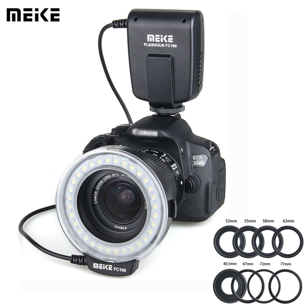 Meike FC-100 FC100 Macro Ring Flash/Light MK FC 100 for Canon EOS 650D 700D 70D 7D II 60D T4i T3i 6D Nikon FUJI Flashes