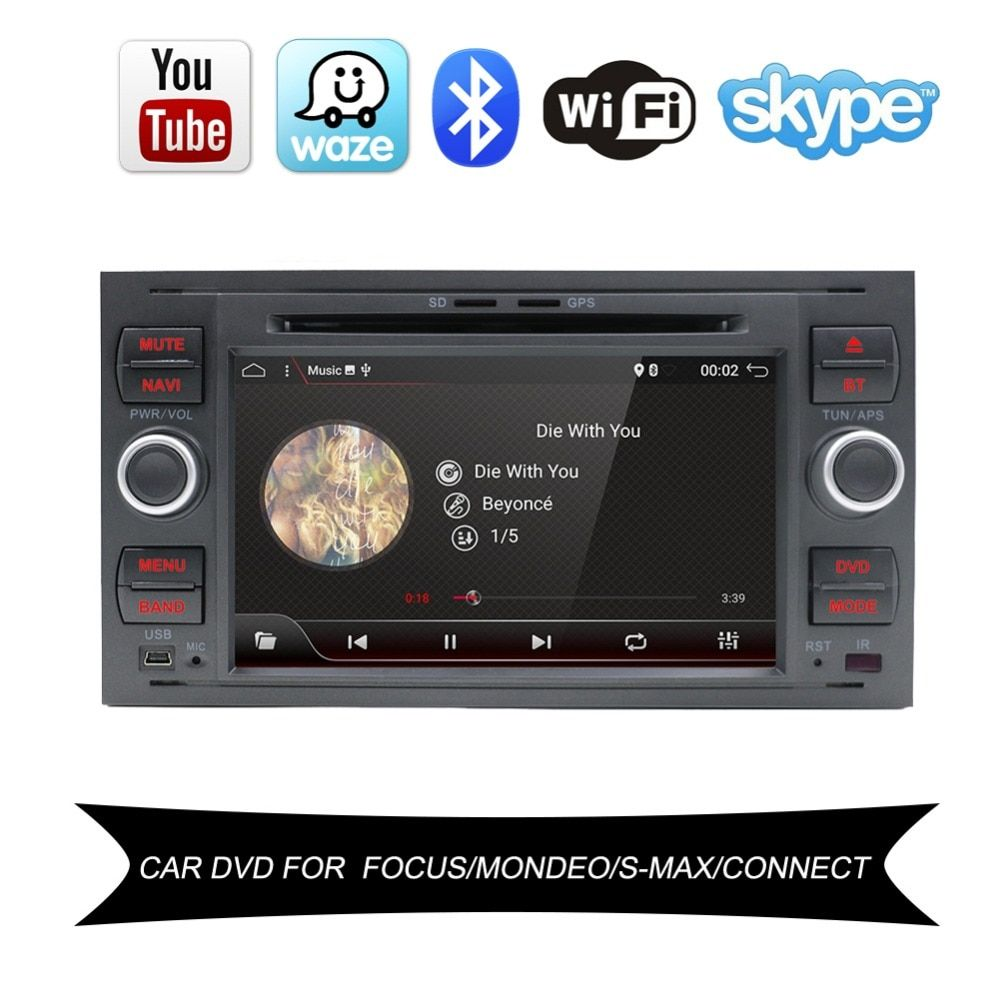 Bosion 2 Din Android 7.1 4 Core Car DVD Player GPS Navigation WIFI 4G for FORD connect S-Max Kuga Fusion Transit Fiesta Focus II