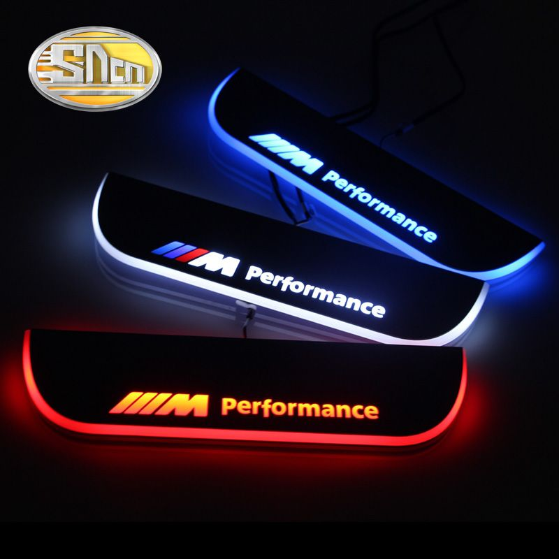 SNCN Waterproof Acrylic Moving LED Welcome Pedal Car Scuff Plate Pedal Door Sill Pathway Light For BMW F10 F18 2010 - 2015