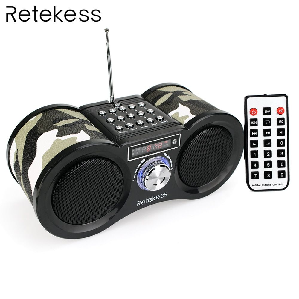 Retekess V113 FM Radio Stereo Digital Radio Receiver Speaker USB Disk TF Card MP3 Music Player Camouflage + Remote Control