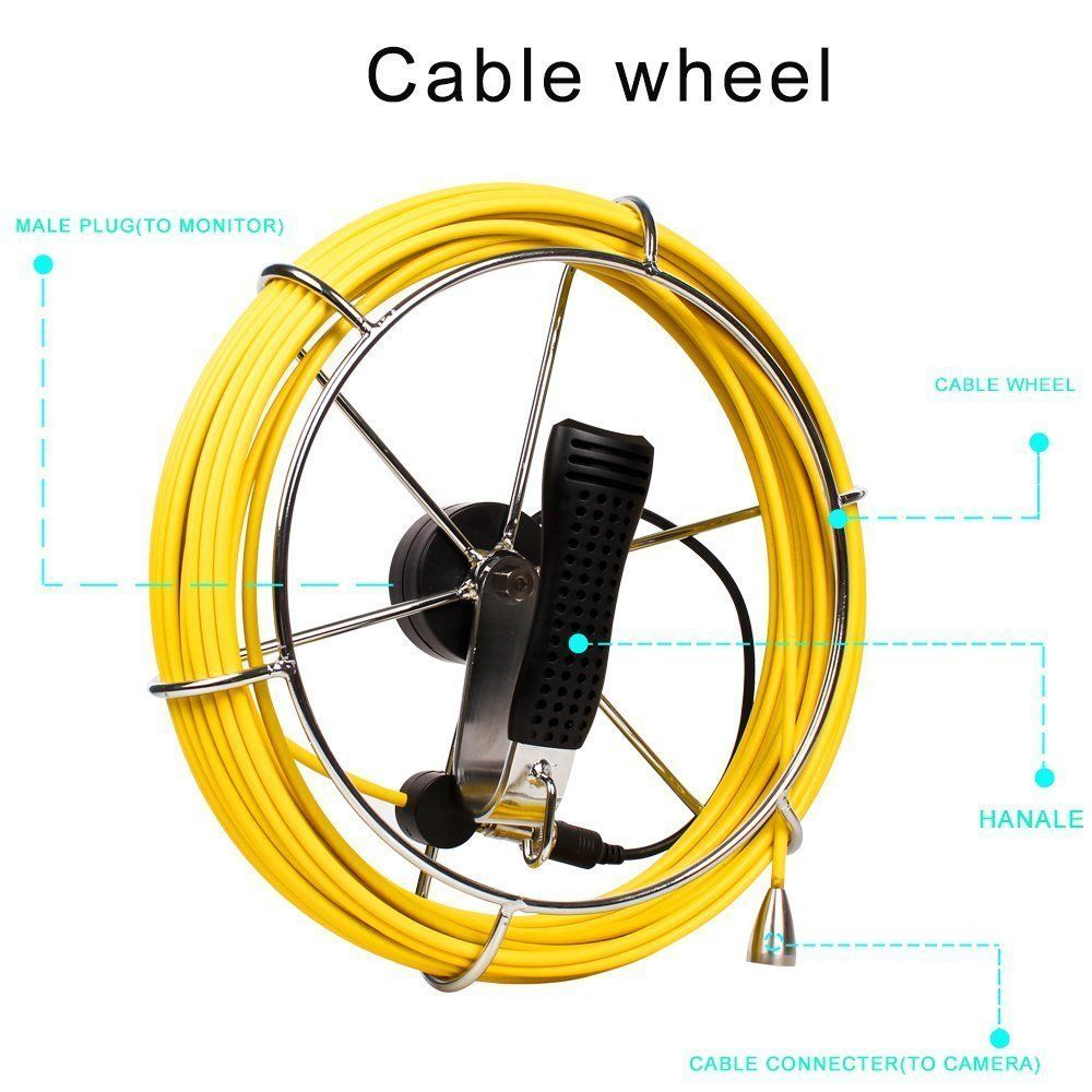 Pipe Sewer Inspection Camera Waterproof IP68 30M Drain Industrial Endoscope Video CCD DVR Recorder Video Snake Camera cable