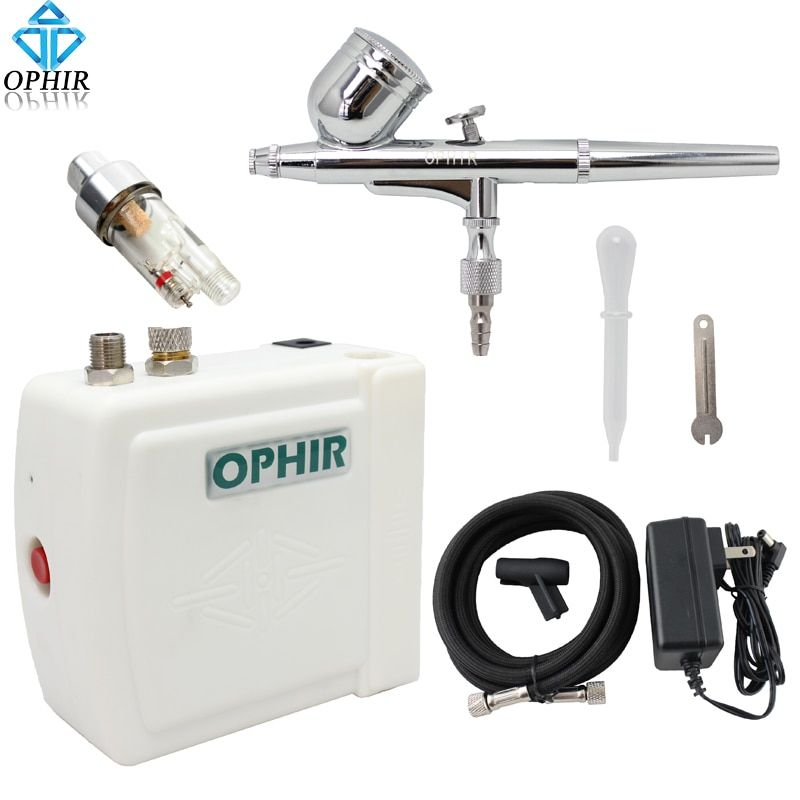 OPHIR Mini Airbrush Kit with Air Compressor for Cake Decorating Hobby Art Painting Dual Action Airbrush Gun_AC003W+AC004A+AC011