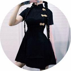 Японское винтажное готическое платье лолиты в стиле Харадзюку Черное Красное тонкое платье Ципао в китайском стиле