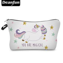 Deanfun Unicorn Tas Kosmetik 3D Dicetak Bintang Baru Fashion Wanita Makeup Organizer Penyimpanan Ritsleting 50946