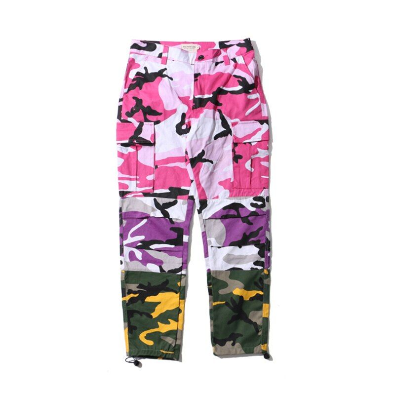 Pink Purple Camouflage Patchwork Cargo Pants Men Women 2017 New Fashion Hip Hop Streetwear Joggers Pants Couple Camo Sweatpants