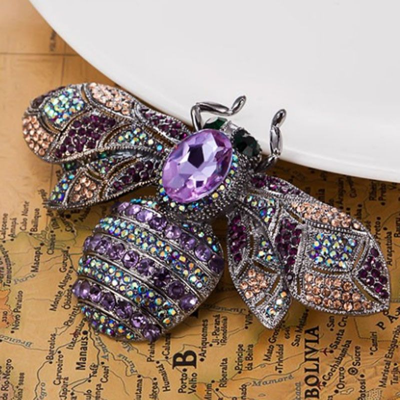 blucome Big Size Bee Rhinestone Brooches For Christmas Accessories Collar Women Hijab Pins And Broches Bijoux Women's Brooch Pin