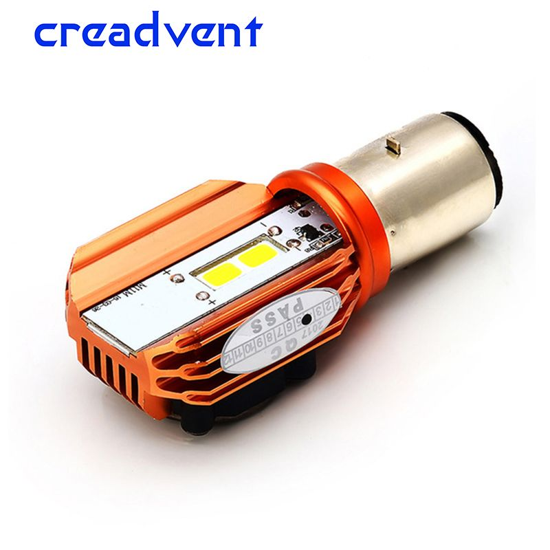Creadvent 2018 Newest Motorcycle Headlight Bulb BA20D Led 20W 2000LM COB Scooter Accessoire Motor Light Headlamp DRL Lights