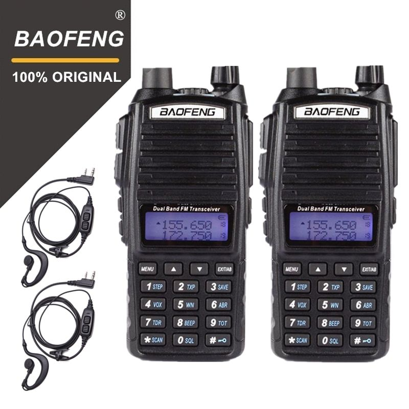 2PC 100% BaoFeng UV-82 Walkie Talkie 10KM Dual Band 136-174/400-520 MHz FM Ham Two Way Radio Vhf Uhf Long Range Transceiver