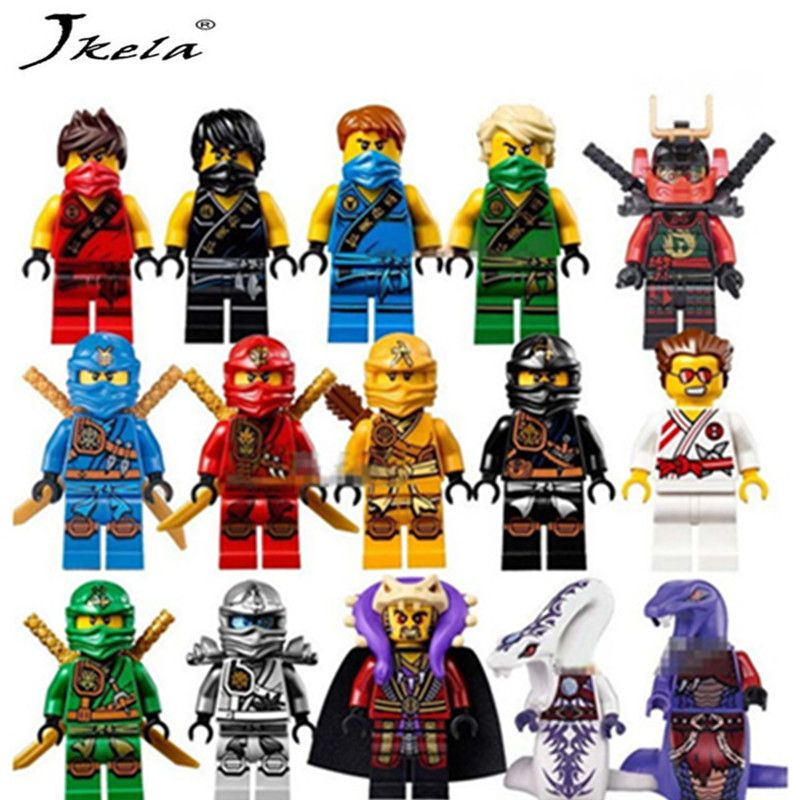 [Hot] 15 pcs/lot Compatible LegoINGlys NinjagoINGly Cole Kai Jay Lloyd Nya Skylor Zane Pythor Chen Blocs de Construction Ninja jouets